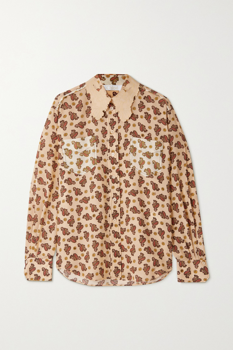 Chloé Floral-embroidered paisley-print silk crepe de chine shirt