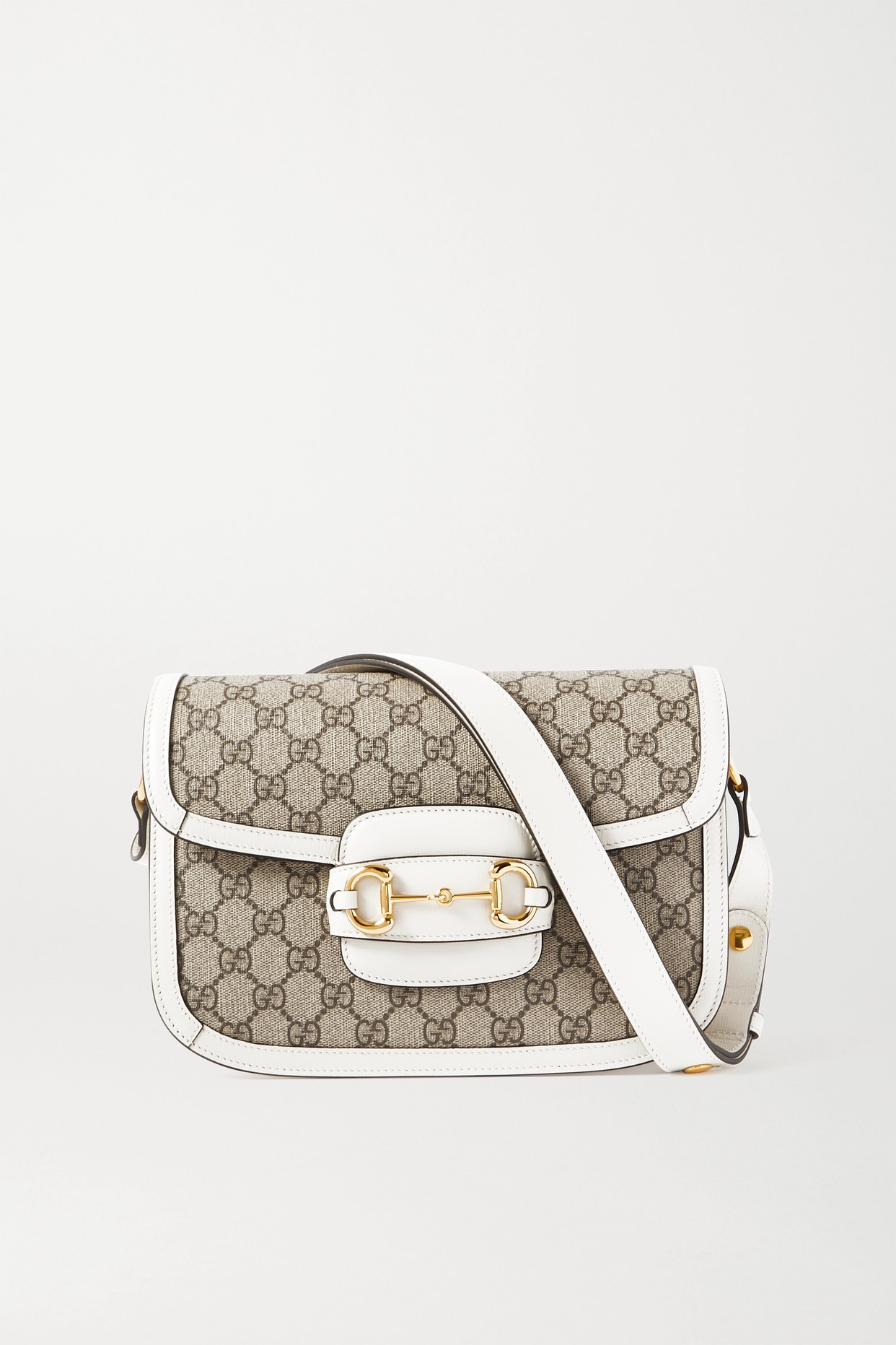 GUCCI - 1955 Horsebit-detailed Leather-trimmed Printed Coated-canvas Shoulder Bag - White - one size