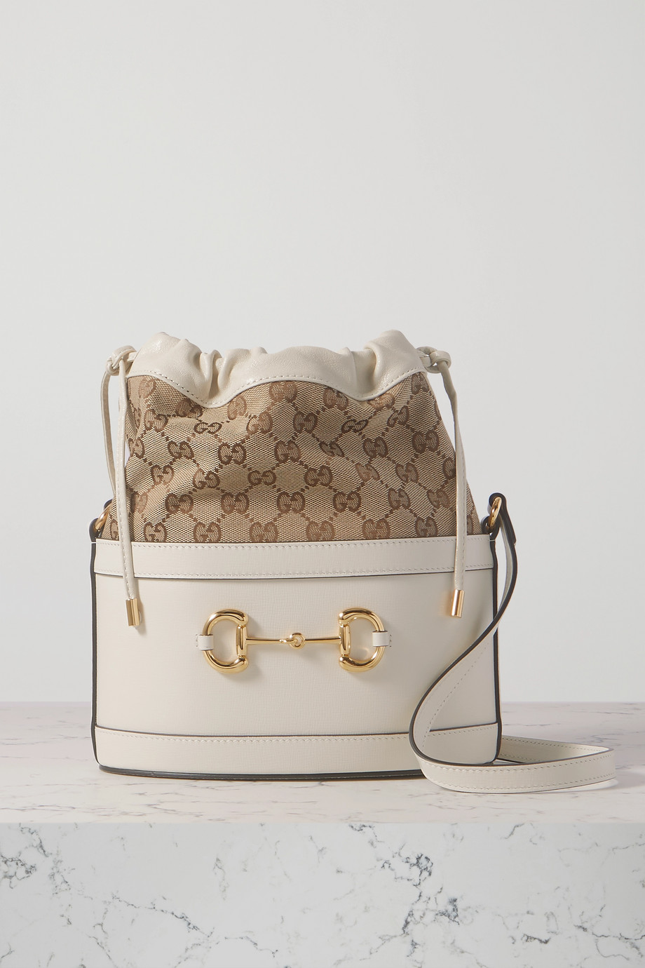 GUCCI 1955 Horsebit leather and printed coated-canvas bucket bag