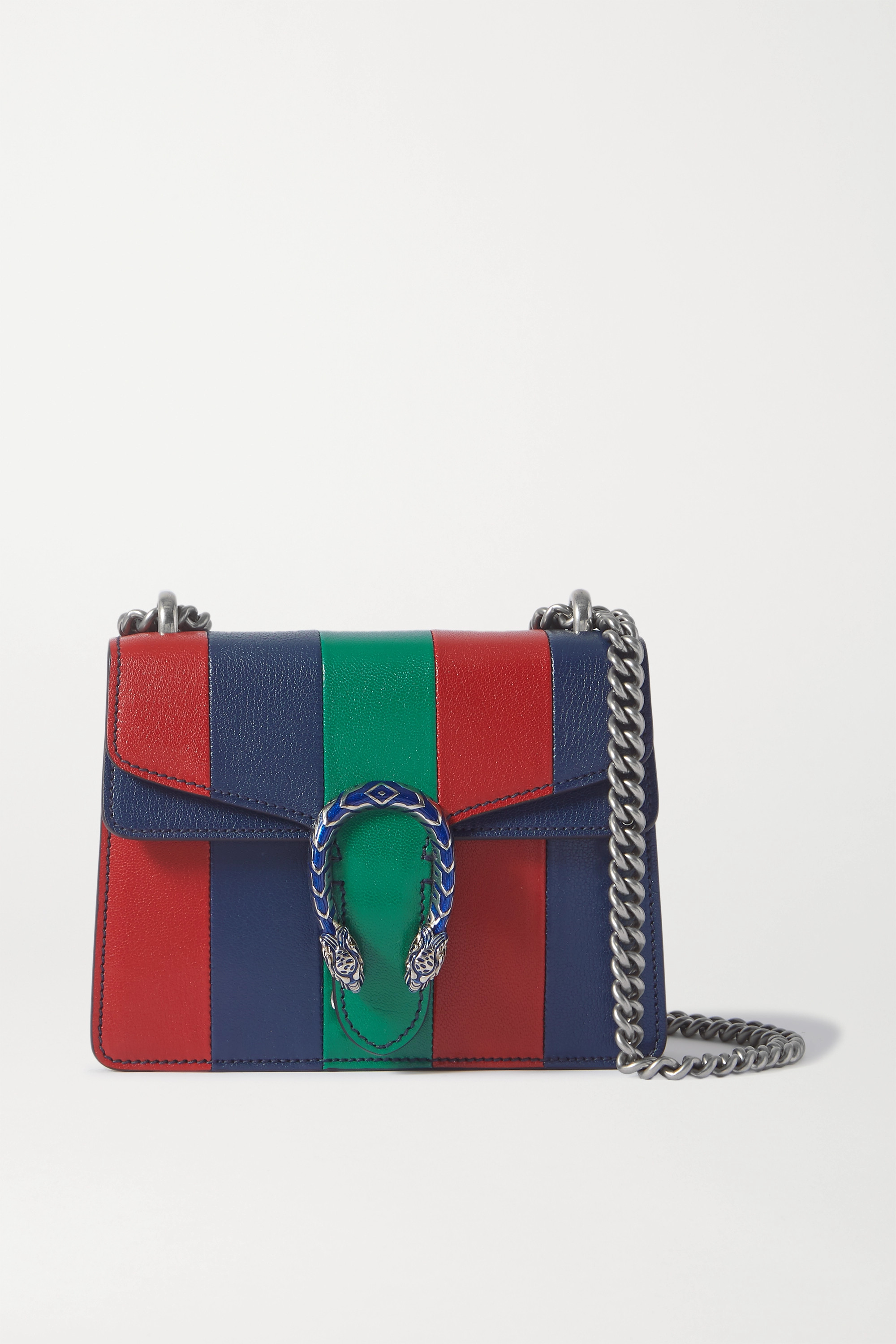 GUCCI + NET SUSTAIN Dionysus extra small striped leather shoulder bag