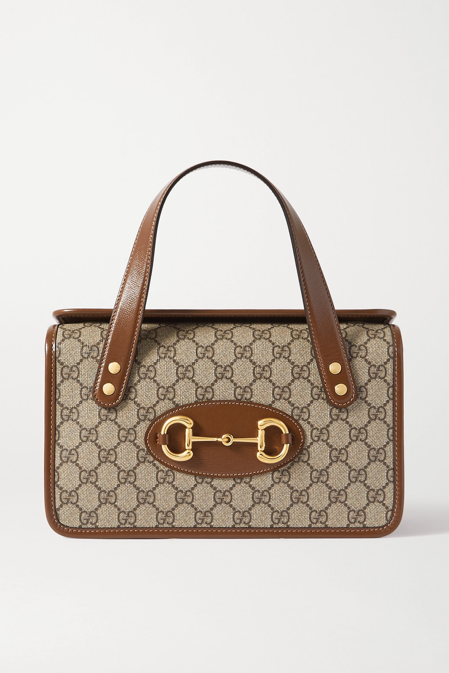 GUCCI 1955 Horsebit leather-trimmed printed coated-canvas shoulder bag