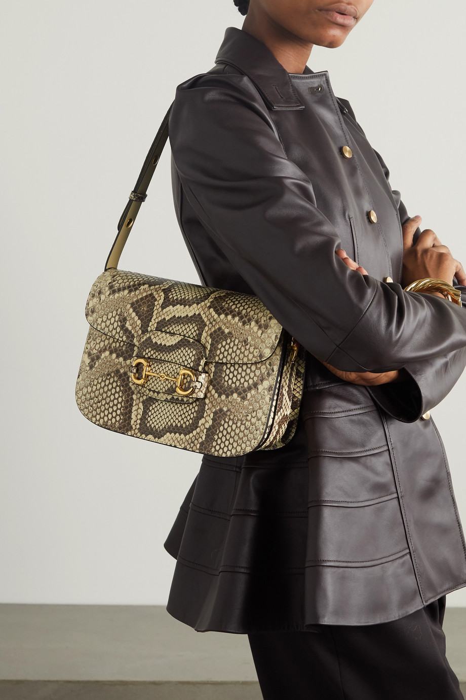 GUCCI 1955 horsebit-detailed python shoulder bag