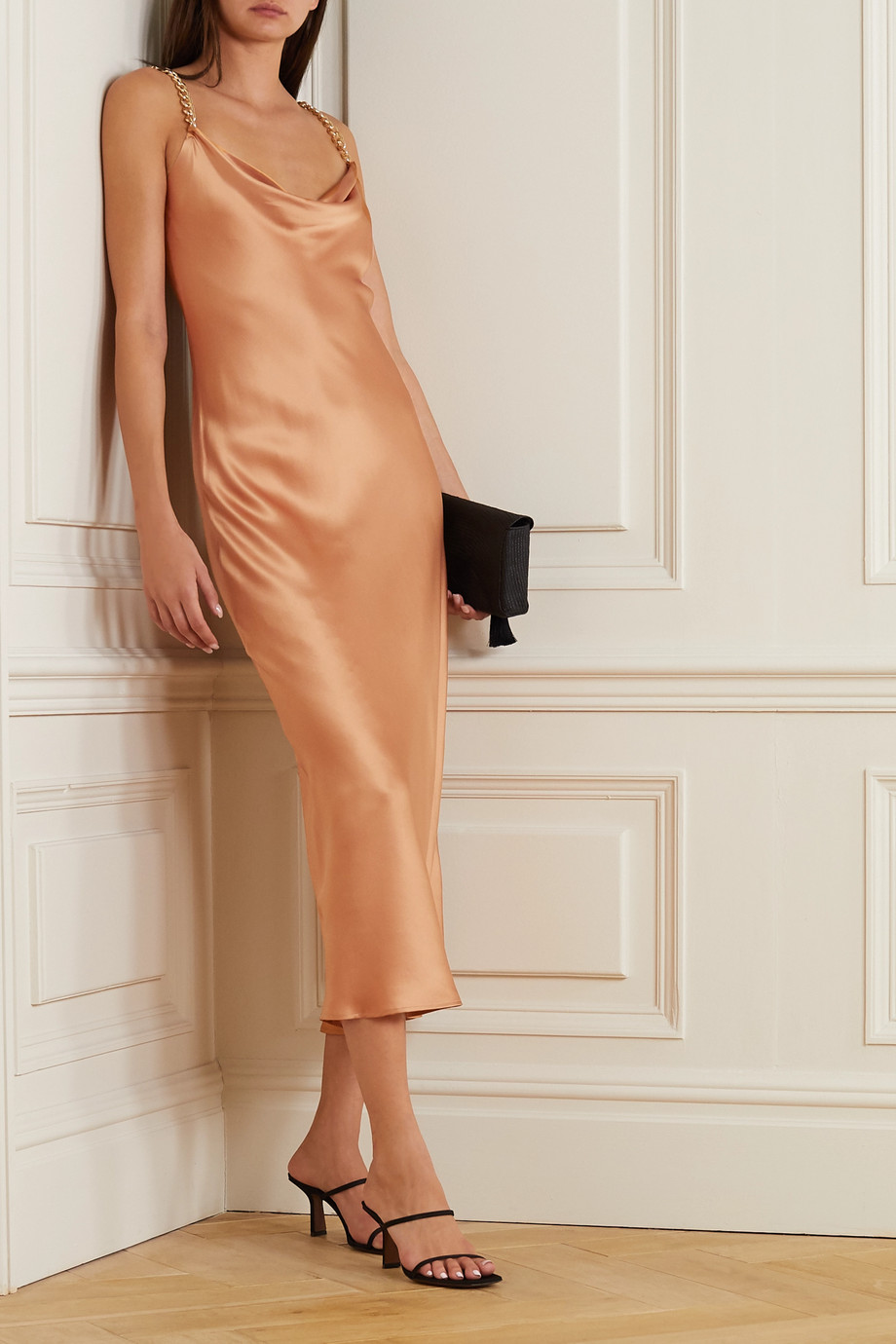 OLIVIA VON HALLE Bibi chain-embellished silk-satin midi dress