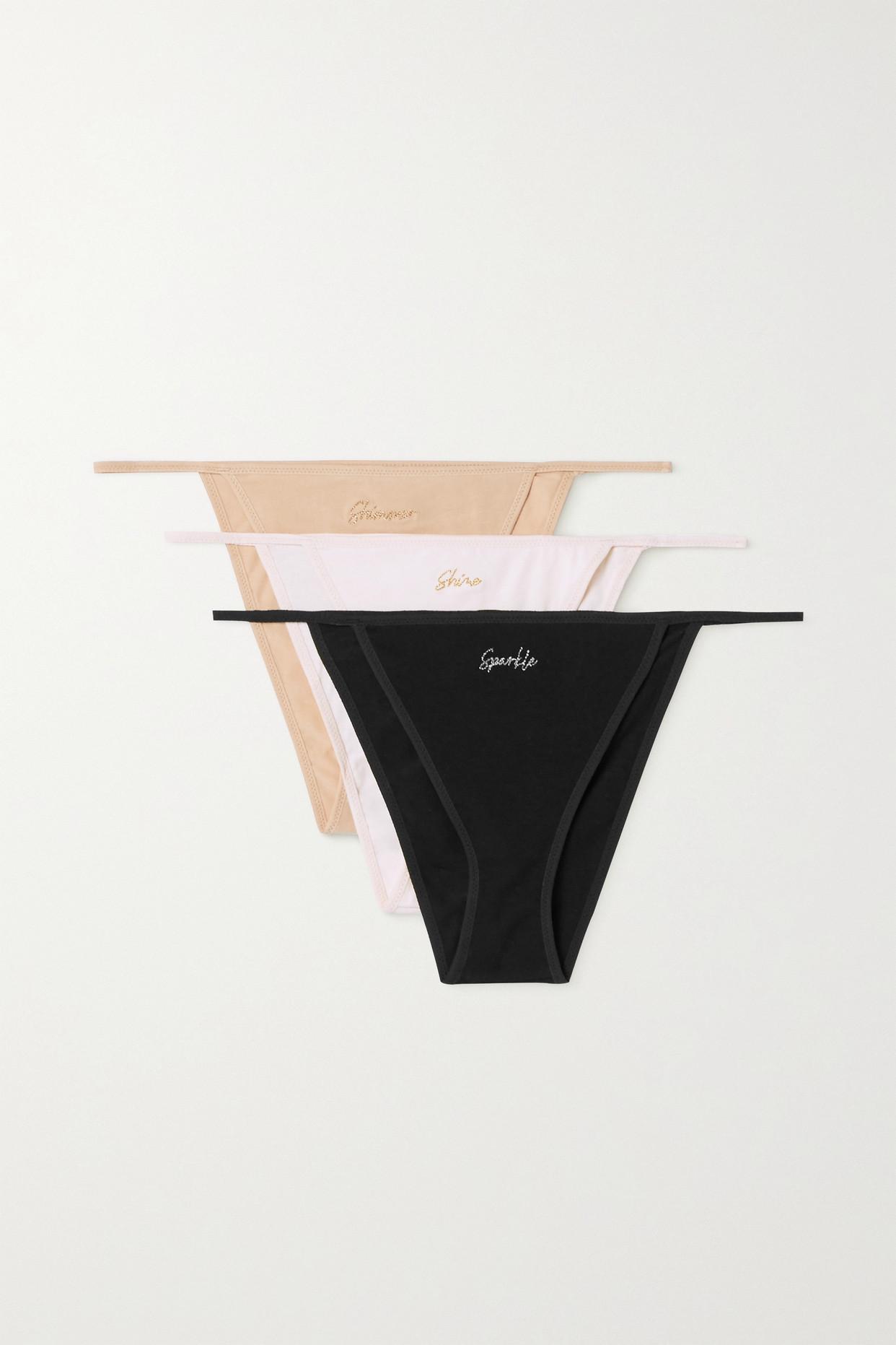 SKIN - + Net Sustain Galila Set Of Three Stretch Organic Pima Cotton-jersey Briefs - Multi - large