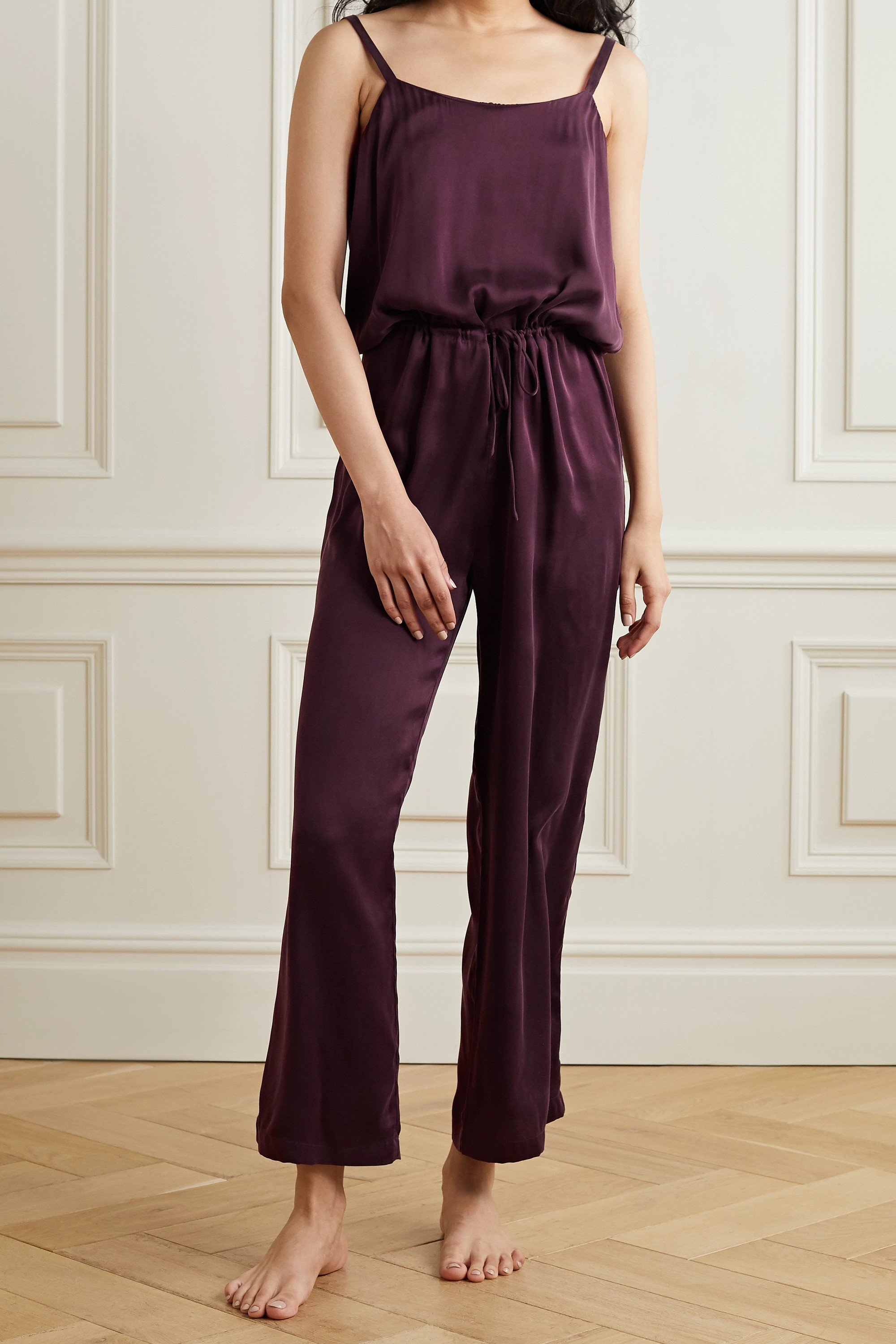 SKIN Tiffany washed silk-blend charmeuse jumpsuit