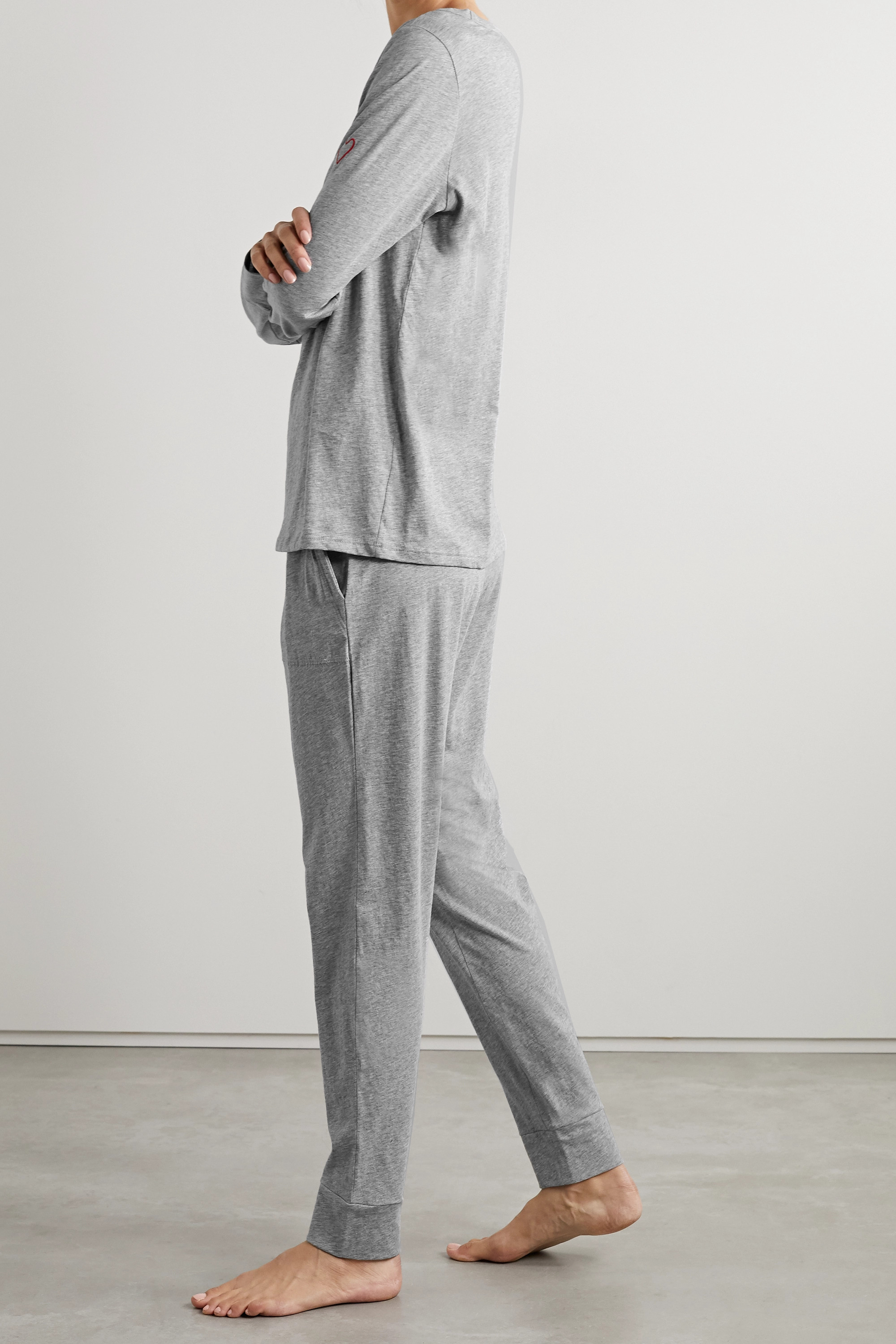 SKIN + NET SUSTAIN Cassandra embroidered organic cotton-jersey pajama set