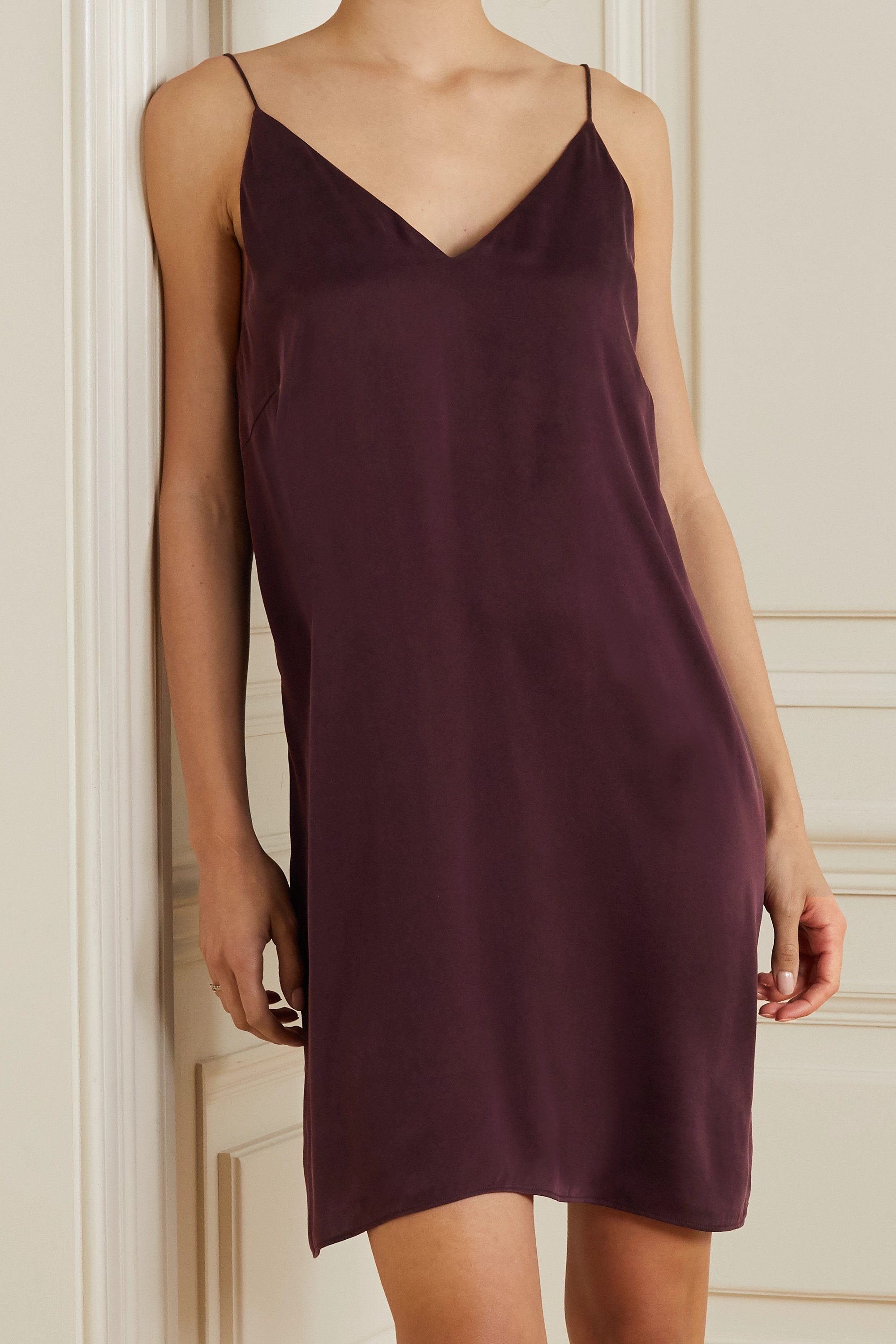 SKIN Tatiana washed silk-blend satin chemise
