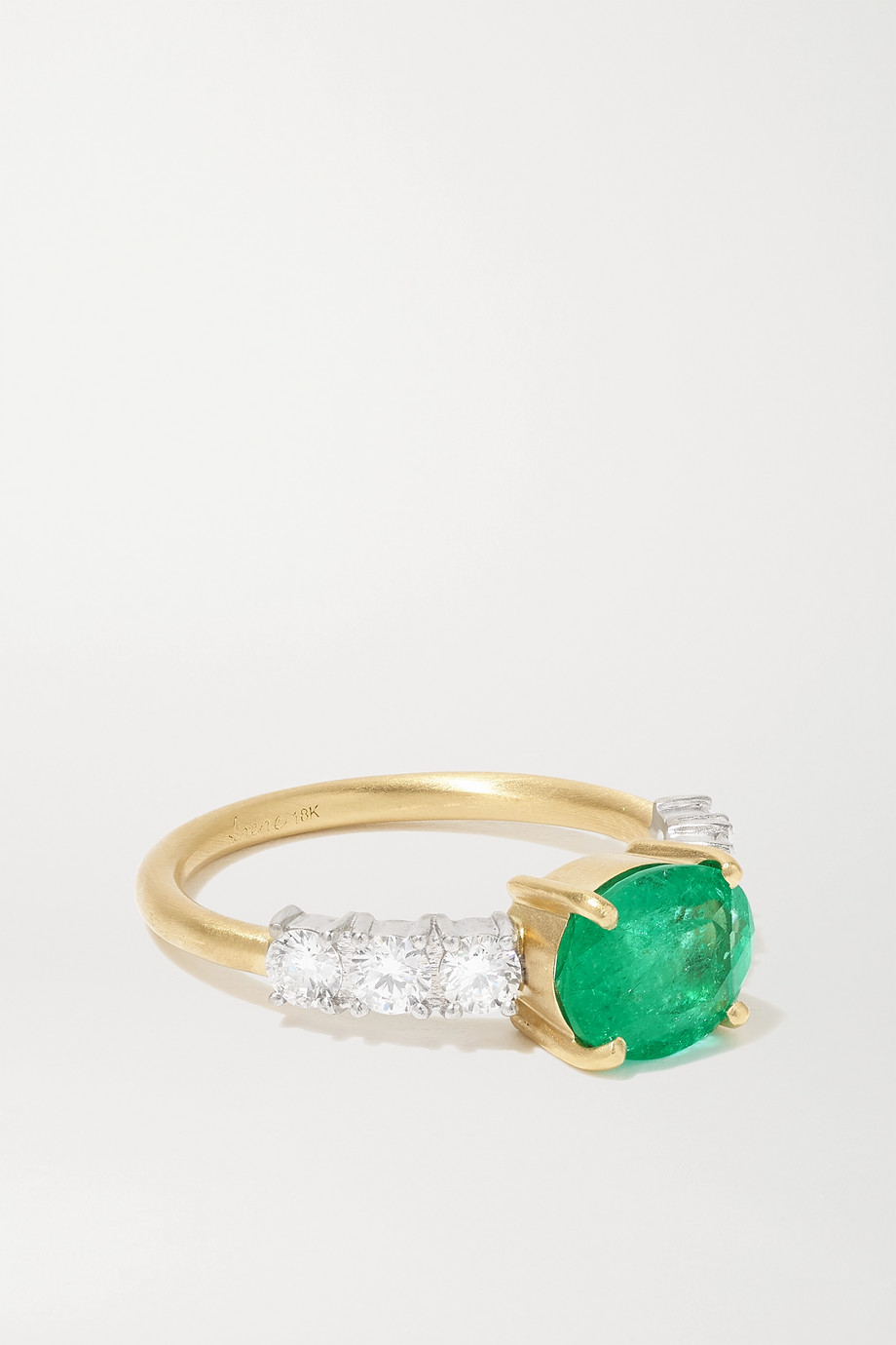 IRENE NEUWIRTH Tennis 18-karat yellow and white gold, emerald and diamond ring