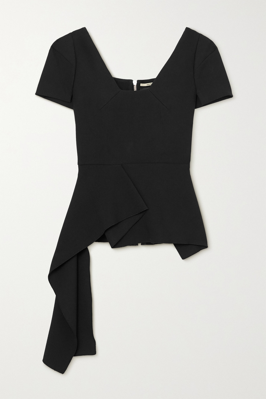 ROLAND MOURET Irene asymmetric draped stretch-crepe top