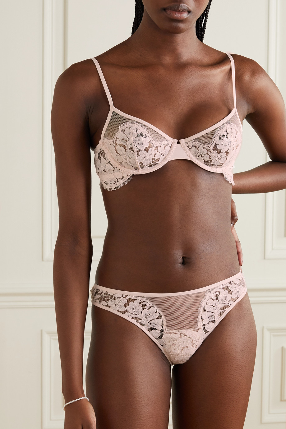 LA PERLA Fall In Love cotton-blend Leavers lace and stretch-tulle briefs