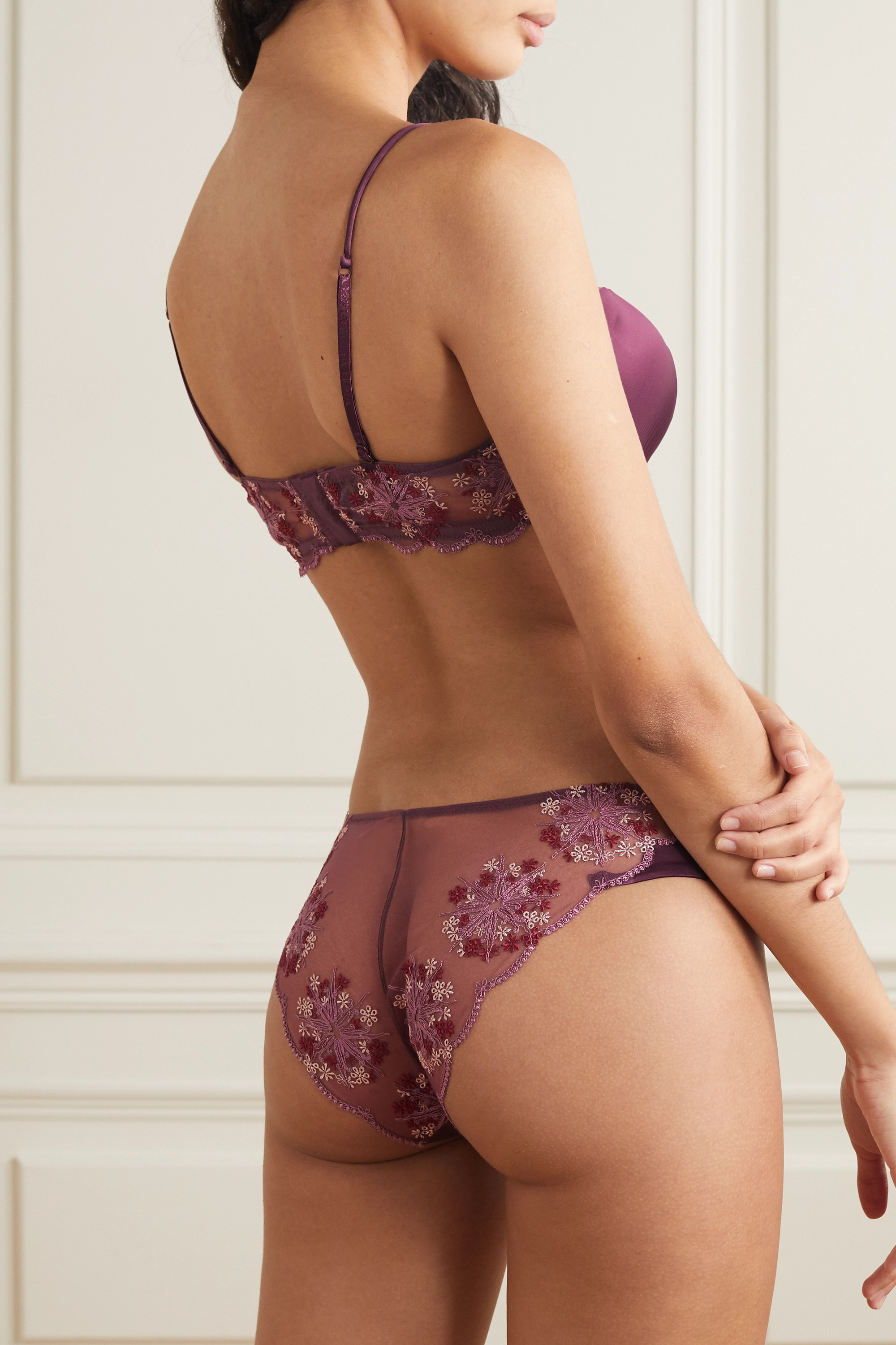 LA PERLA Flower Explosion satin and embroidered stretch-tulle briefs