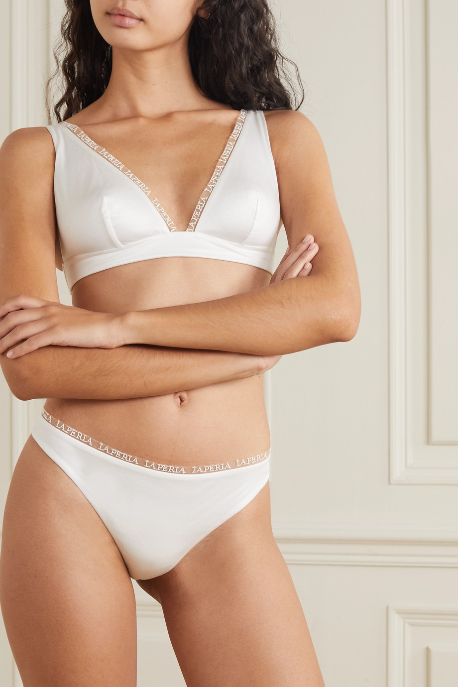 LA PERLA Imagine embroidered tulle-trimmed modal briefs