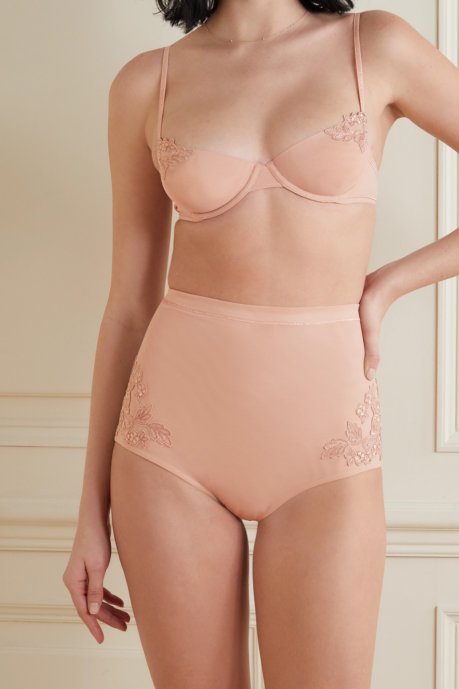 LA PERLA Maison Contouring embroidered stretch-tulle briefs