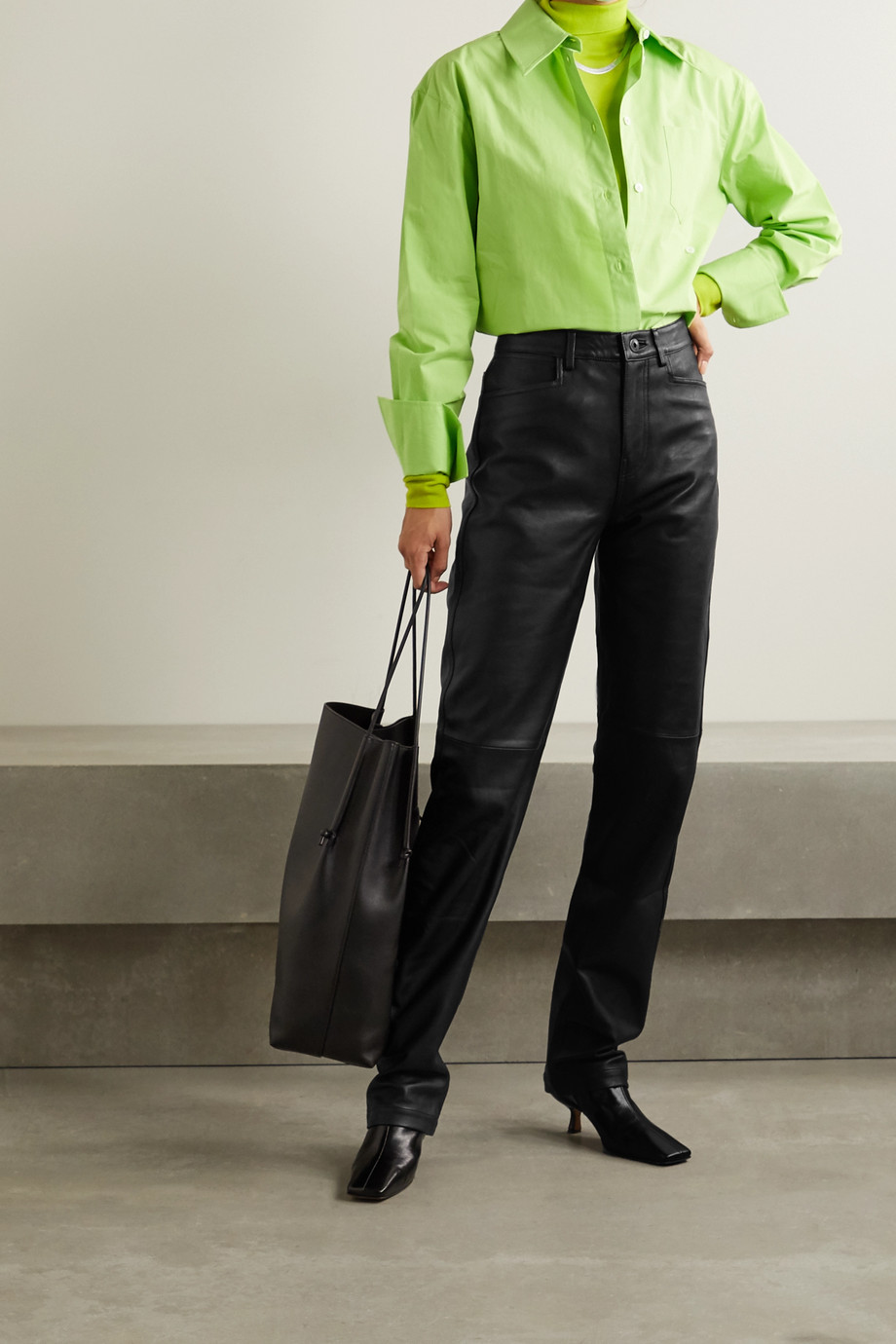 PROENZA SCHOULER WHITE LABEL Leather straight-leg pants