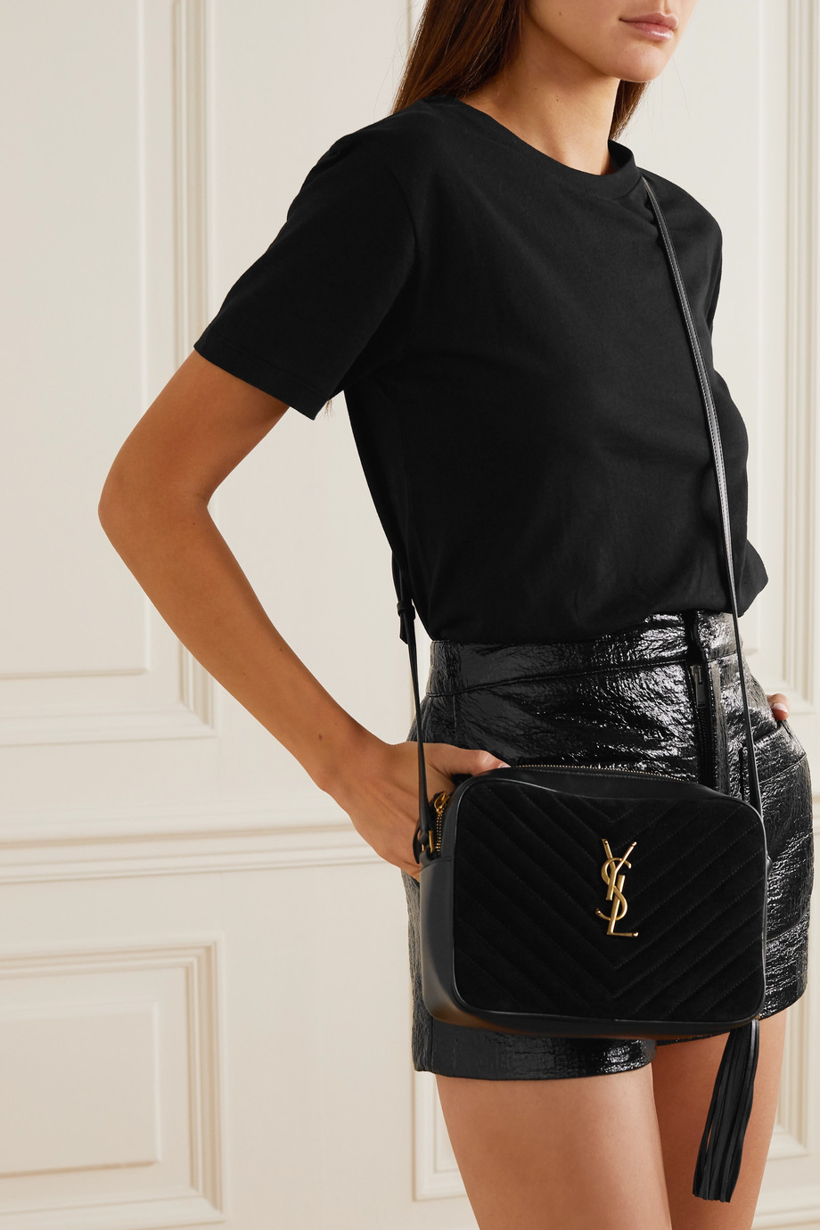 SAINT LAURENT Lou quilted suede and leather shoulder bag
