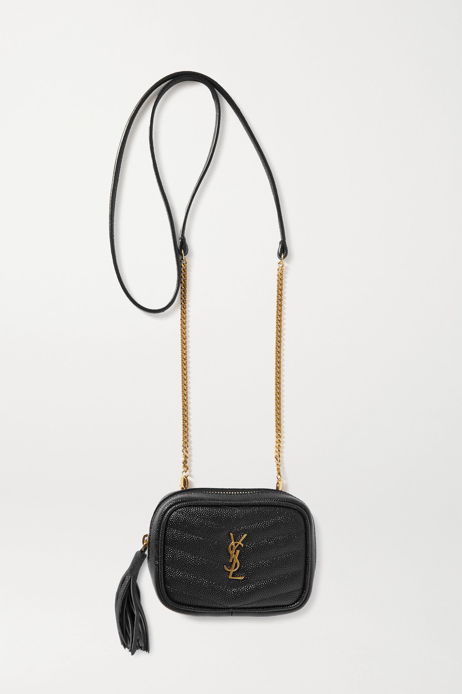 SAINT LAURENT Lou Baby quilted textured-leather shoulder bag