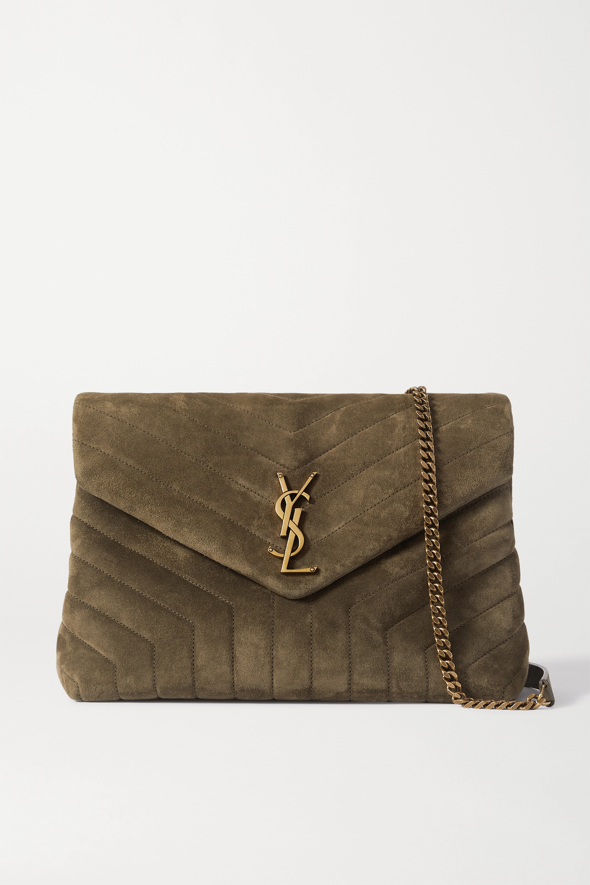 SAINT LAURENT Loulou medium quilted suede shoulder bag