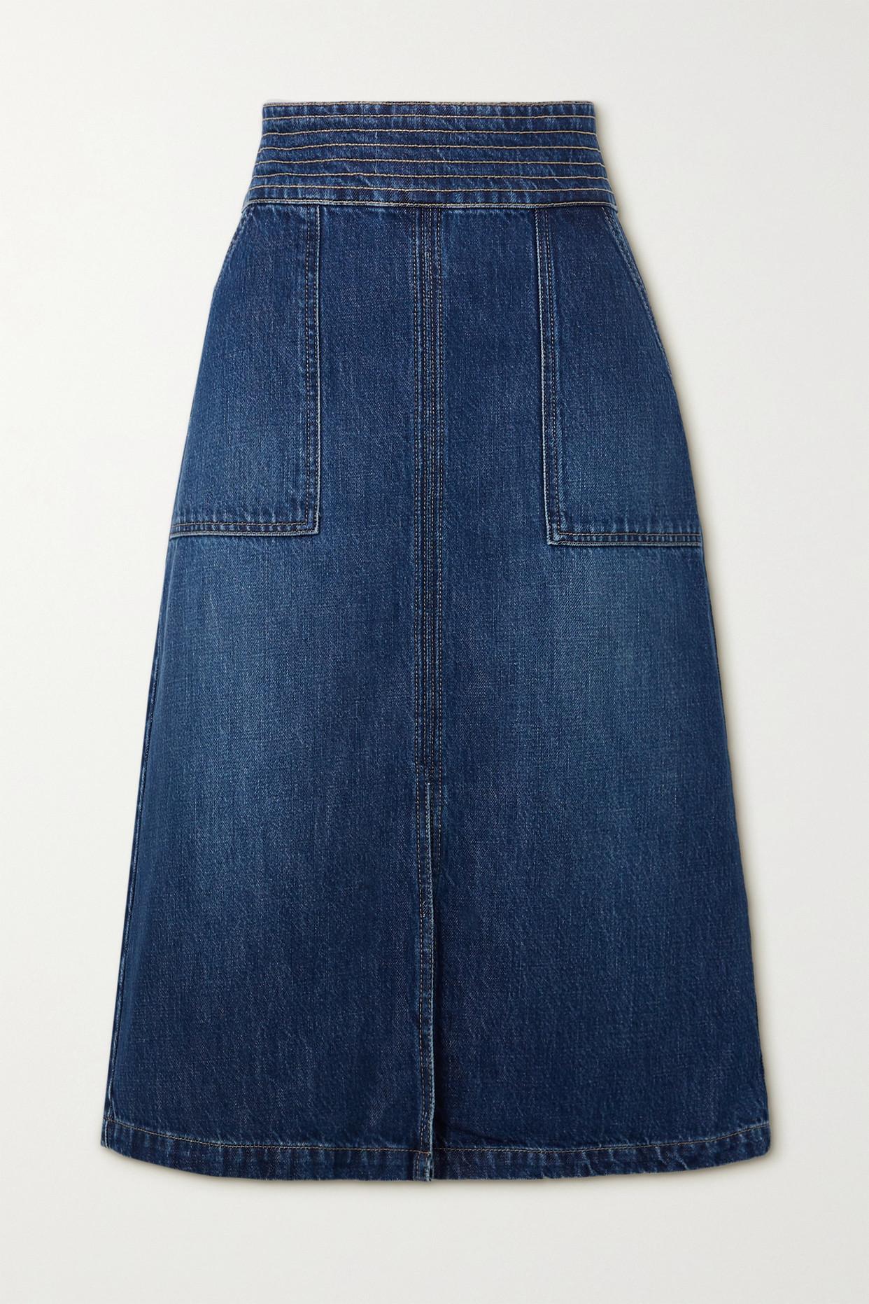 FRAME - Trapunto Denim Midi Skirt - Blue - 25