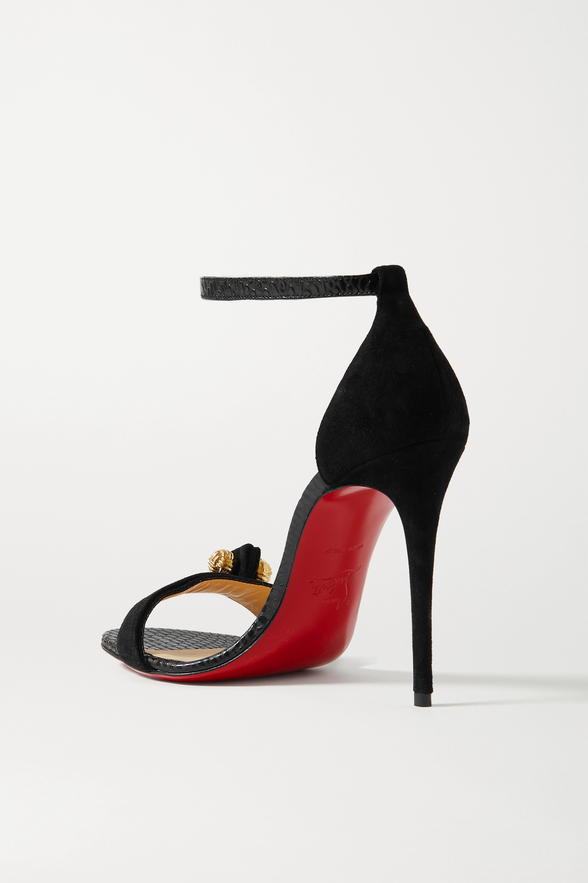 CHRISTIAN LOUBOUTIN Stanisandal 100 suede and lizard-effect leather sandals