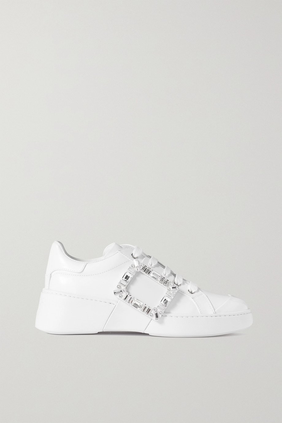 ROGER VIVIER Viv Skate crystal-embellished rubber-trimmed leather sneakers