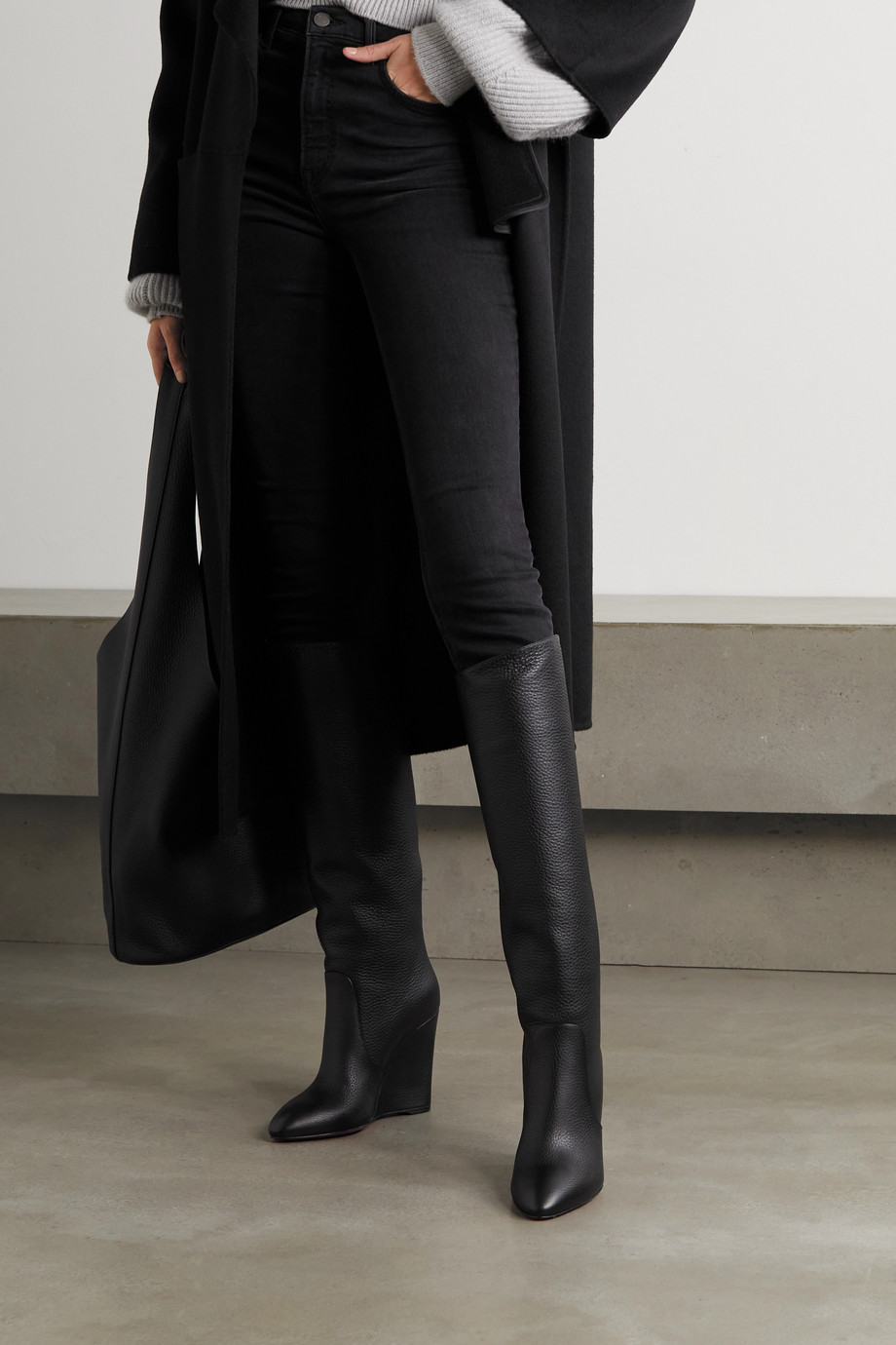 CHRISTIAN LOUBOUTIN Civiliza 100 textured-leather wedge knee boots
