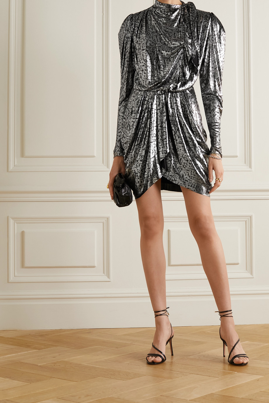 ISABEL MARANT Tie-detailed animal-print lamé mini dress