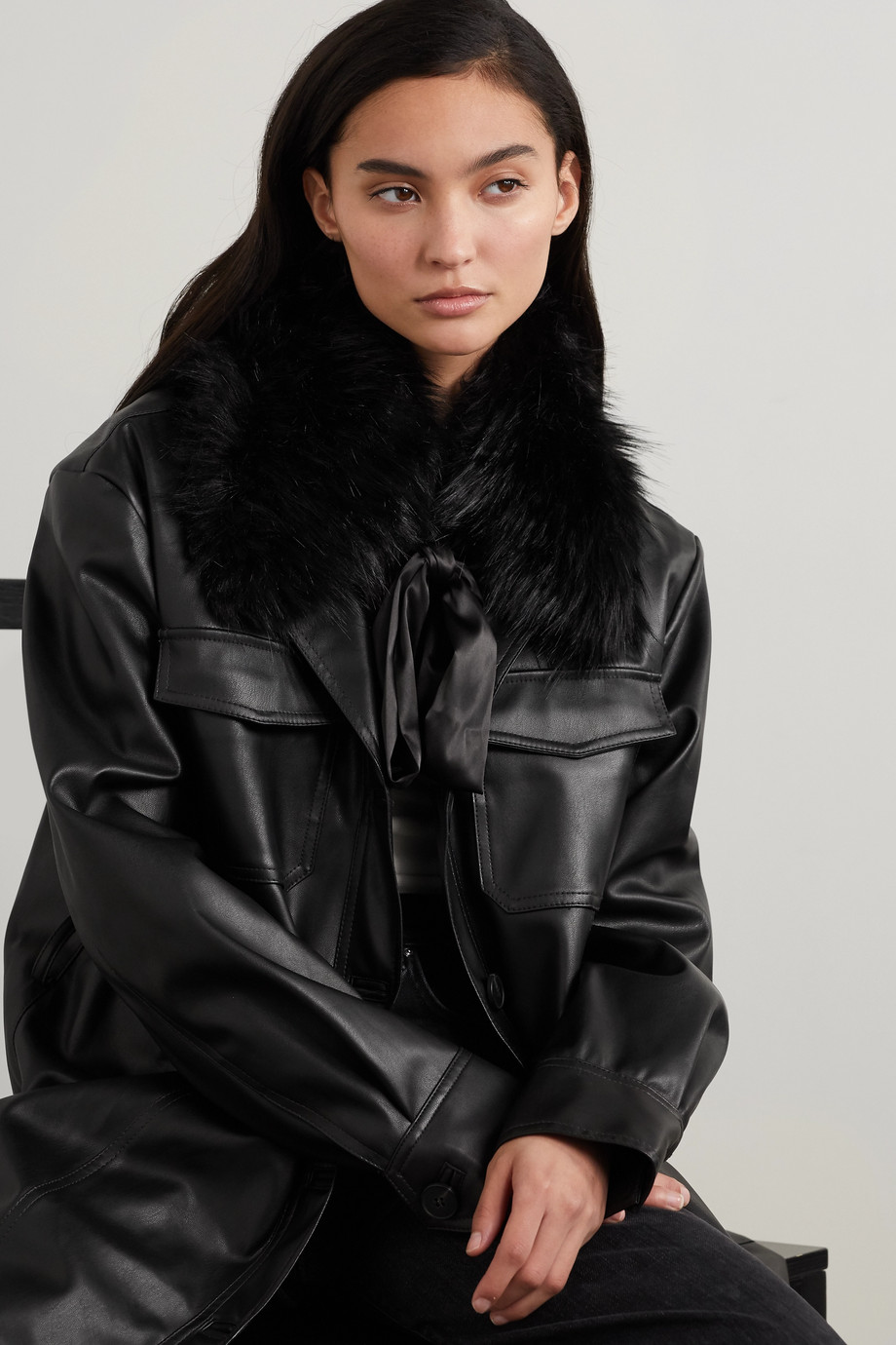 EUGENIA KIM Leonora satin-trimmed faux fur collar