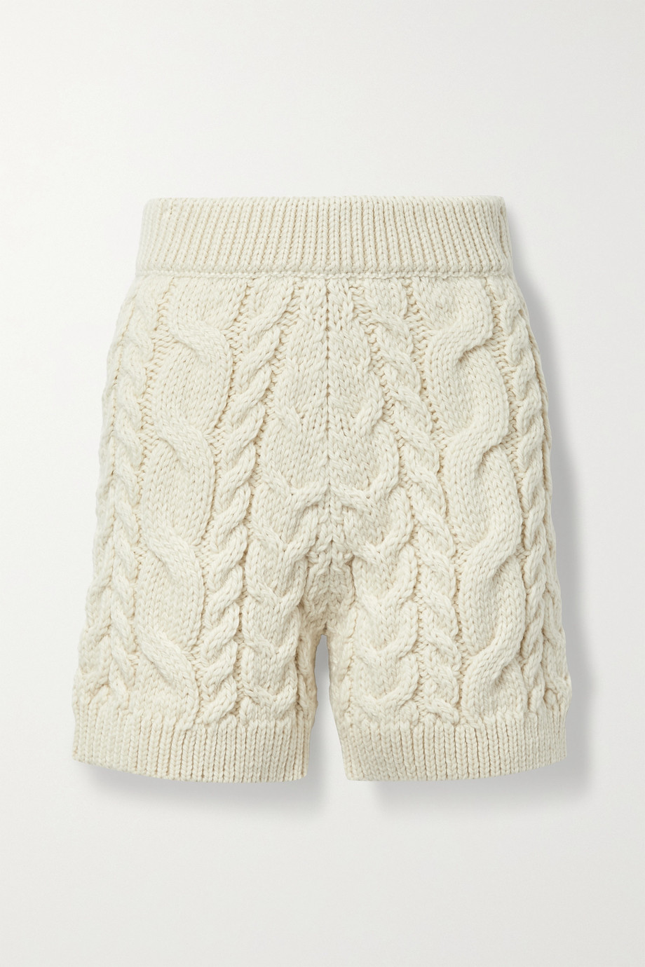 MR MITTENS Cable-knit wool shorts