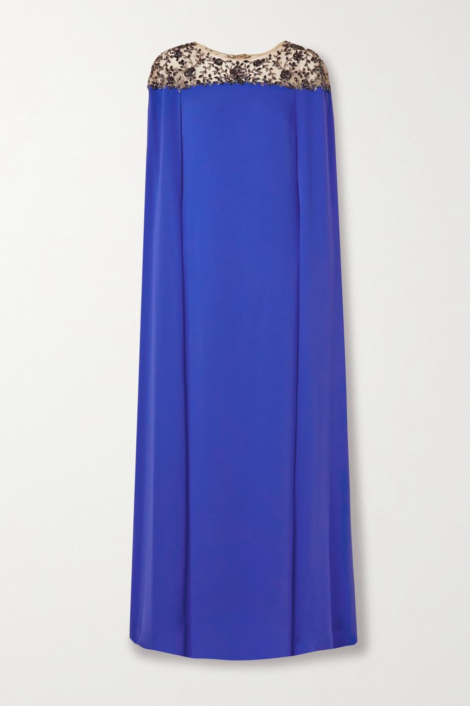 MARCHESA NOTTE Cape-effect embellished tulle and crepe gown