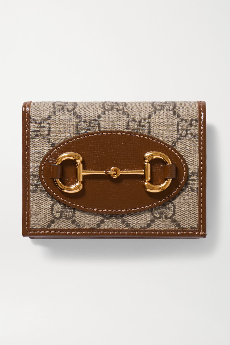 GUCCI 1955 Horsebit leather-trimmed printed coated-canvas wallet