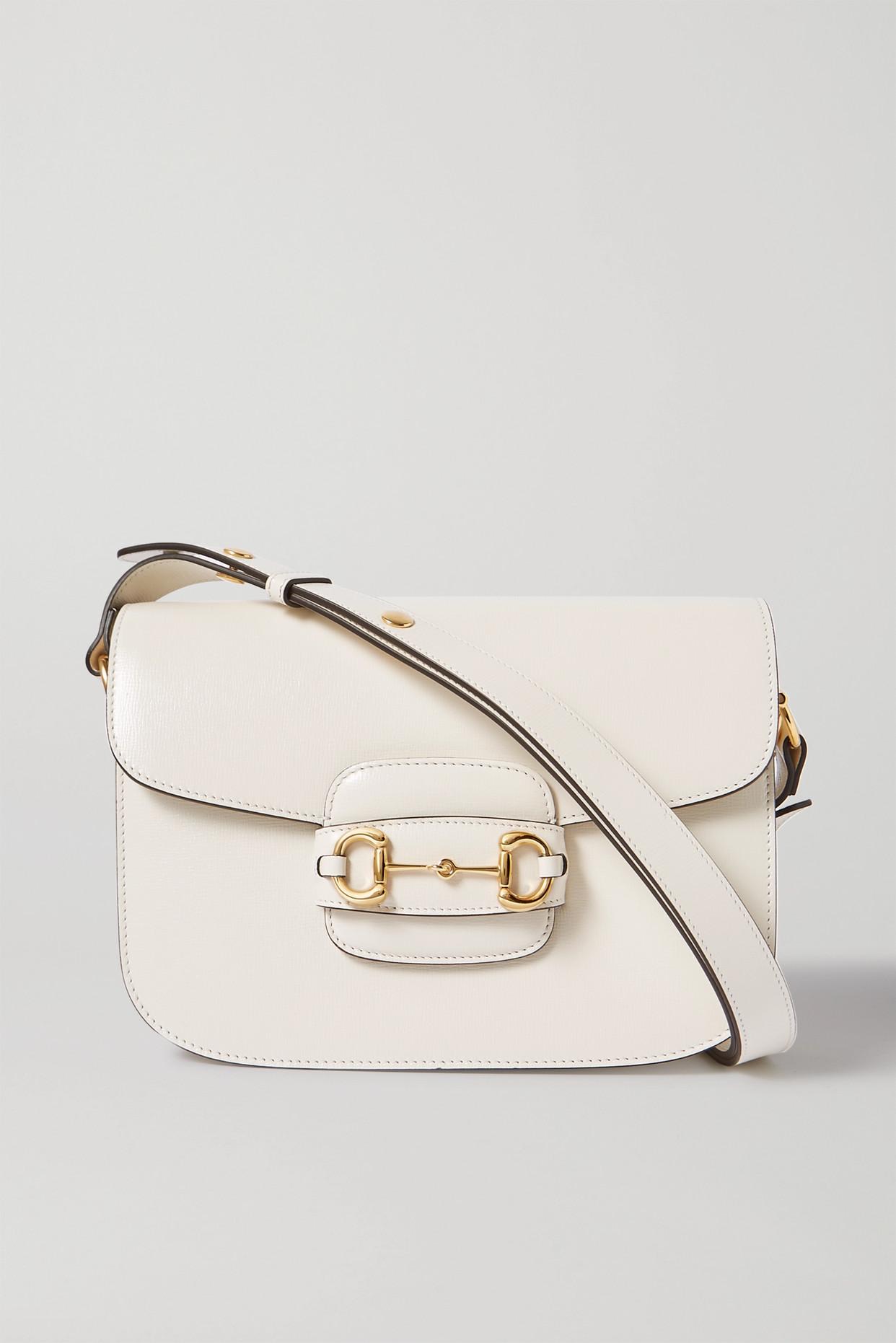 GUCCI - 1955 Horsebit-detailed Leather Shoulder Bag - White - one size
