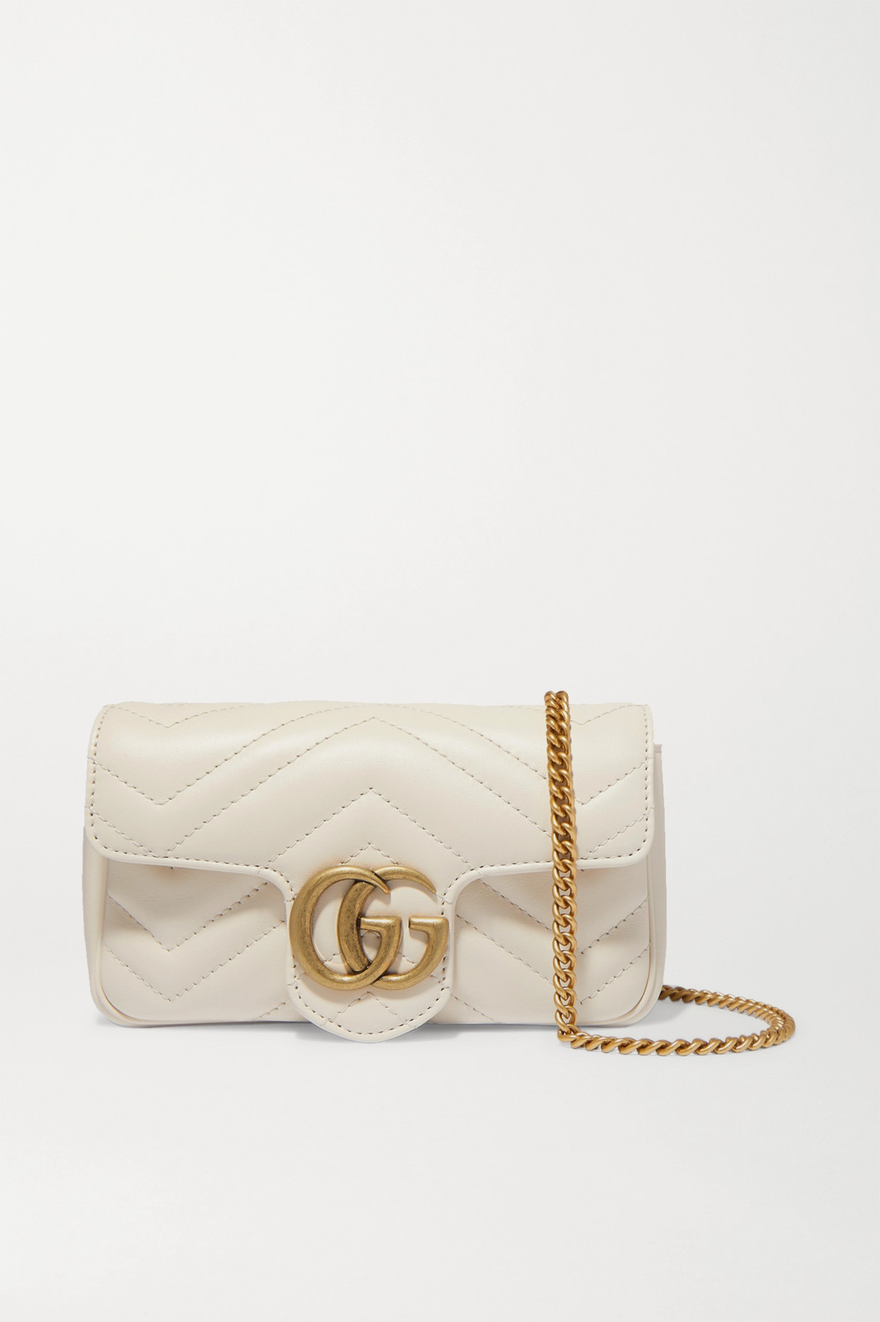 GUCCI - Gg Marmont Super Mini Quilted Leather Shoulder Bag - White - one size