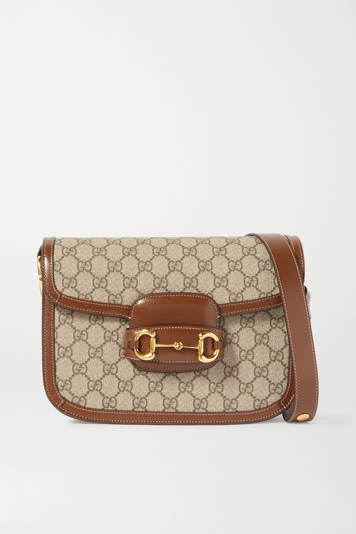 GUCCI - 1955 Horsebit-detailed Leather-trimmed Printed Coated-canvas Shoulder Bag - Brown - one size