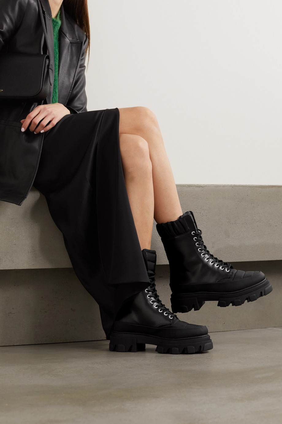 GANNI Shell-trimmed glossed-leather ankle boots