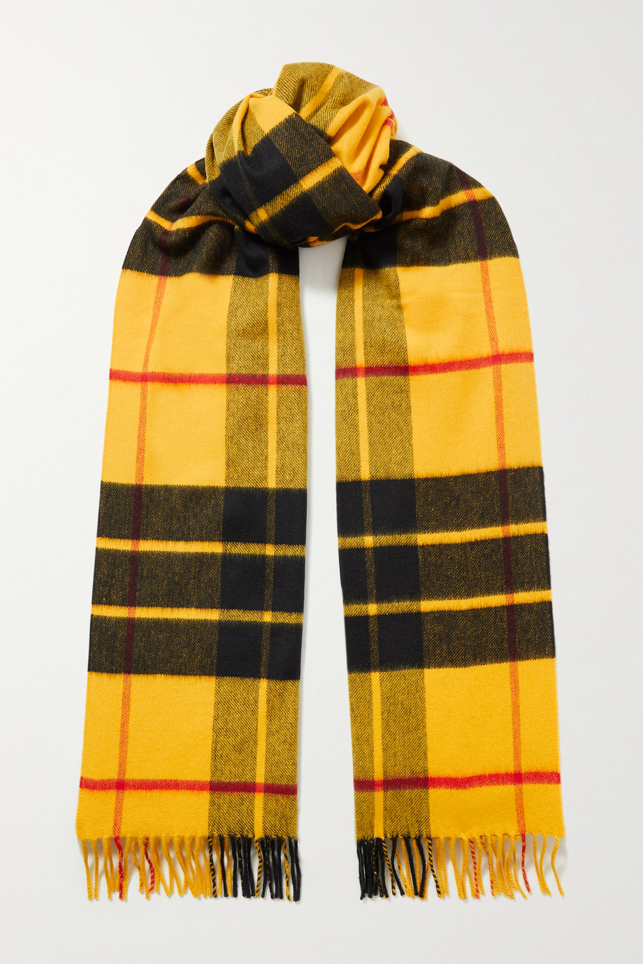JOHNSTONS OF ELGIN + NET SUSTAIN fringed checked merino wool scarf