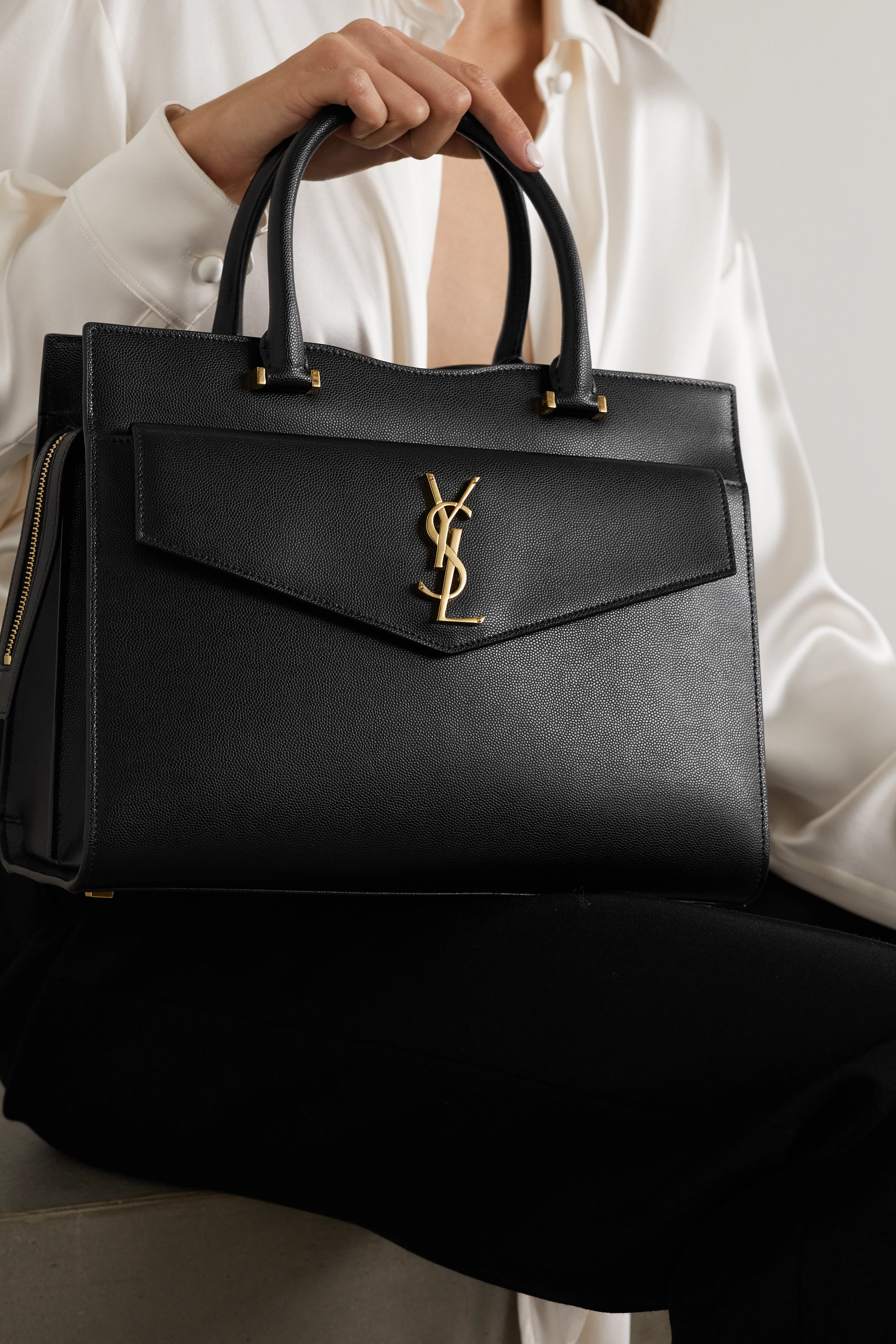 SAINT LAURENT Uptown medium textured-leather tote