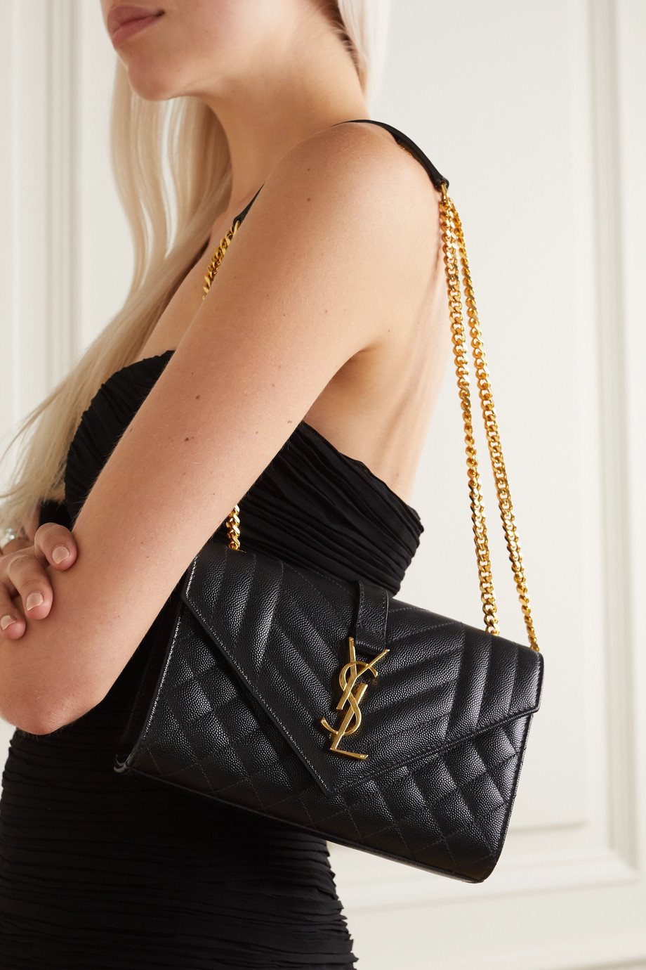 SAINT LAURENT Envelope small quilted textured-leather shoulder bag