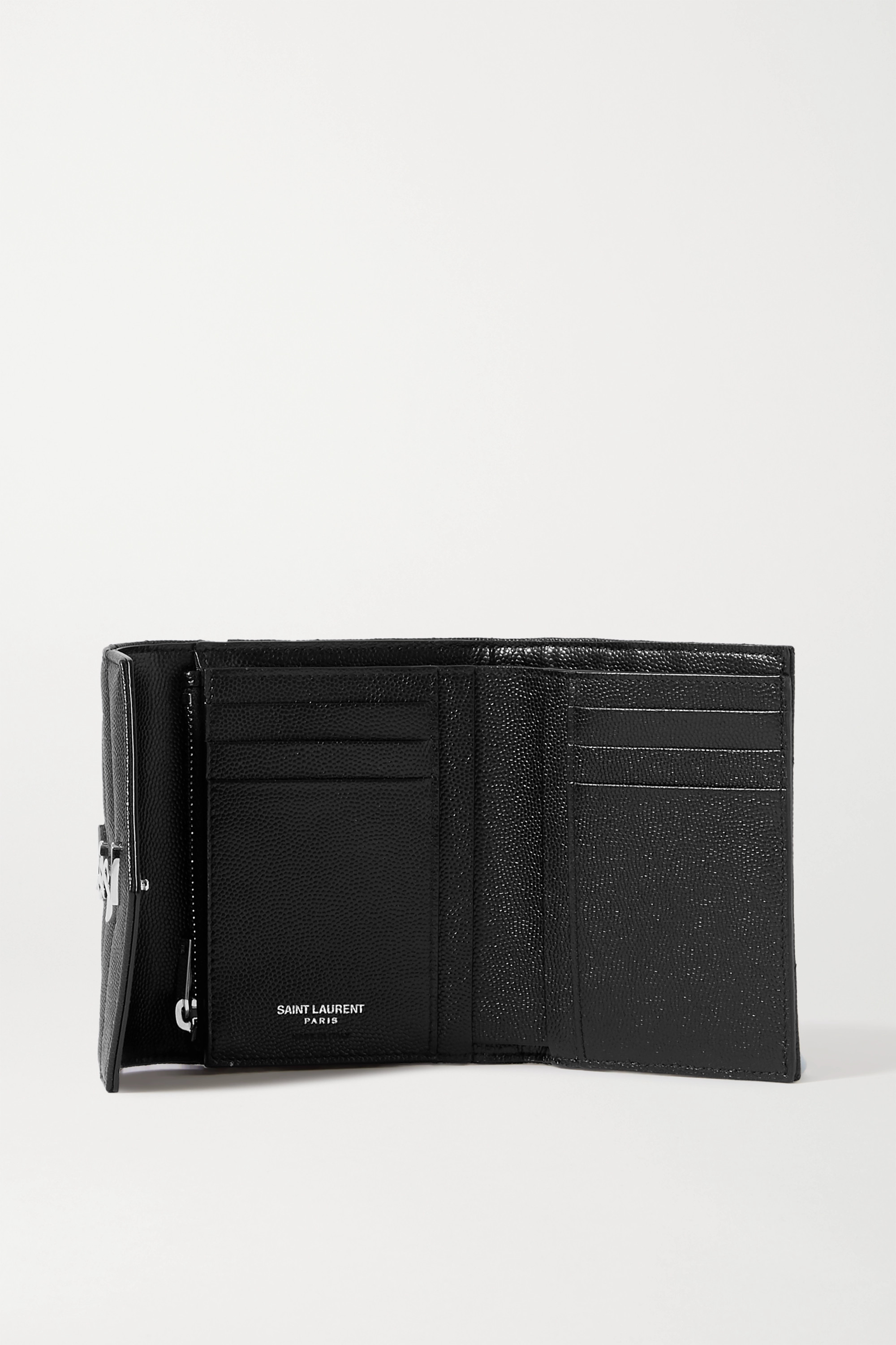 SAINT LAURENT Monogramme quilted textured-leather wallet