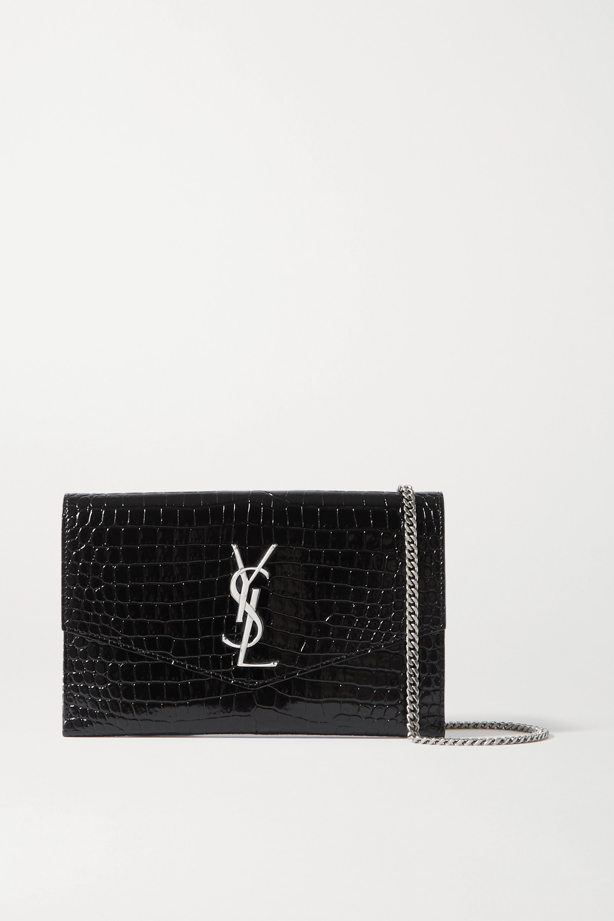 SAINT LAURENT - Uptown Croc-effect Leather Shoulder Bag - Black - one size