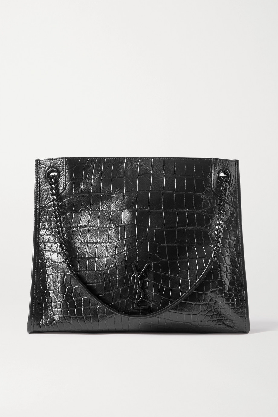 SAINT LAURENT Niki medium crinkled croc-effect leather tote
