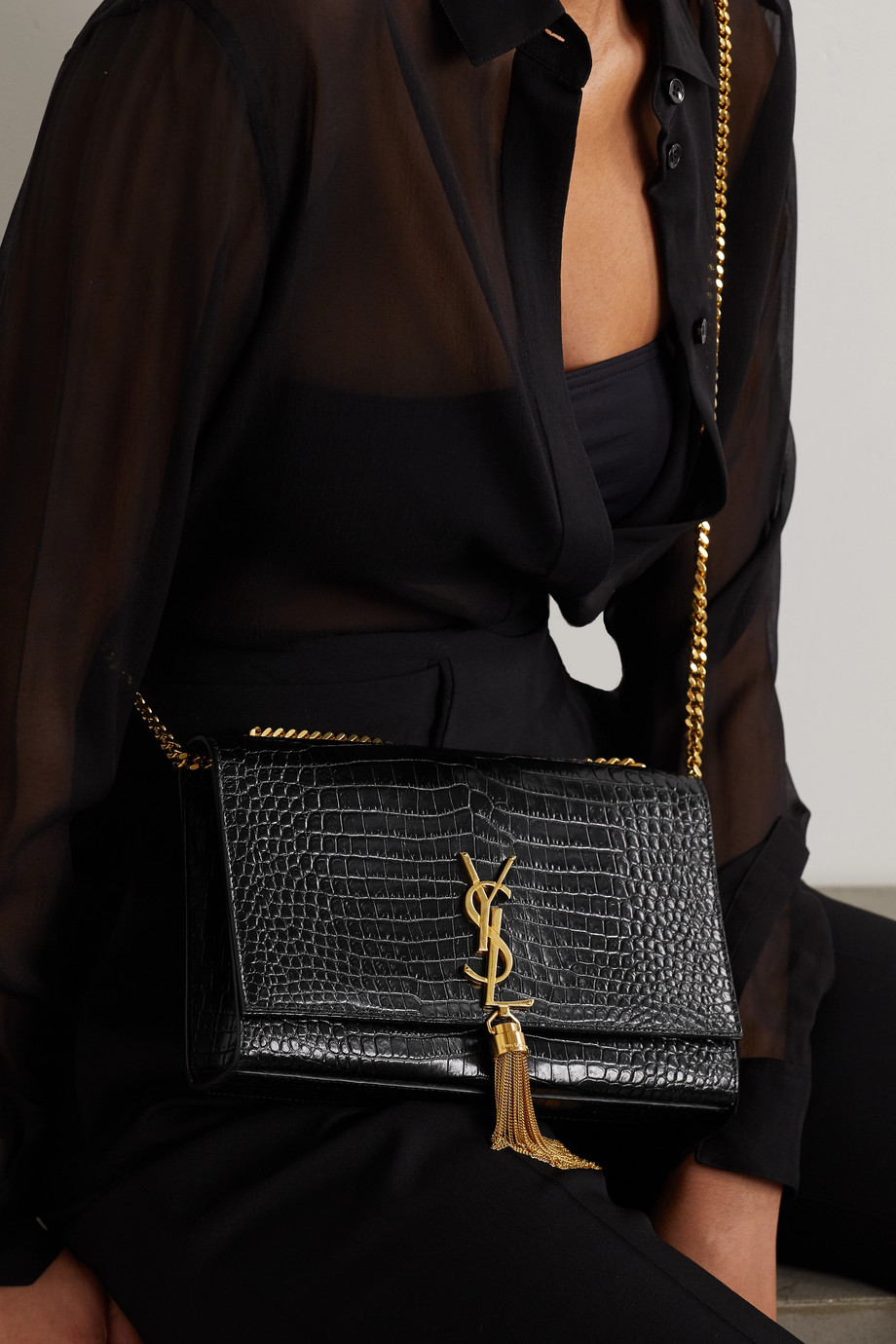 SAINT LAURENT Kate croc-effect glossed-leather shoulder bag