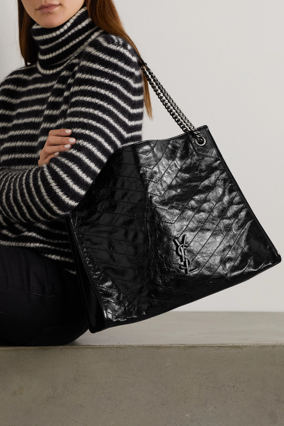 SAINT LAURENT Niki large quilted crinkled glossed-leather tote