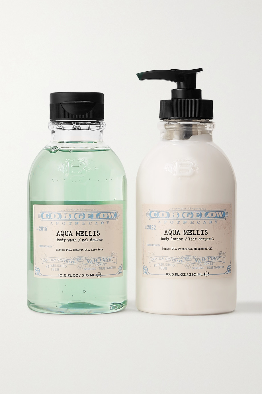C.O. BIGELOW Iconic Collection Body Wash and Lotion Set - Aqua Mellis