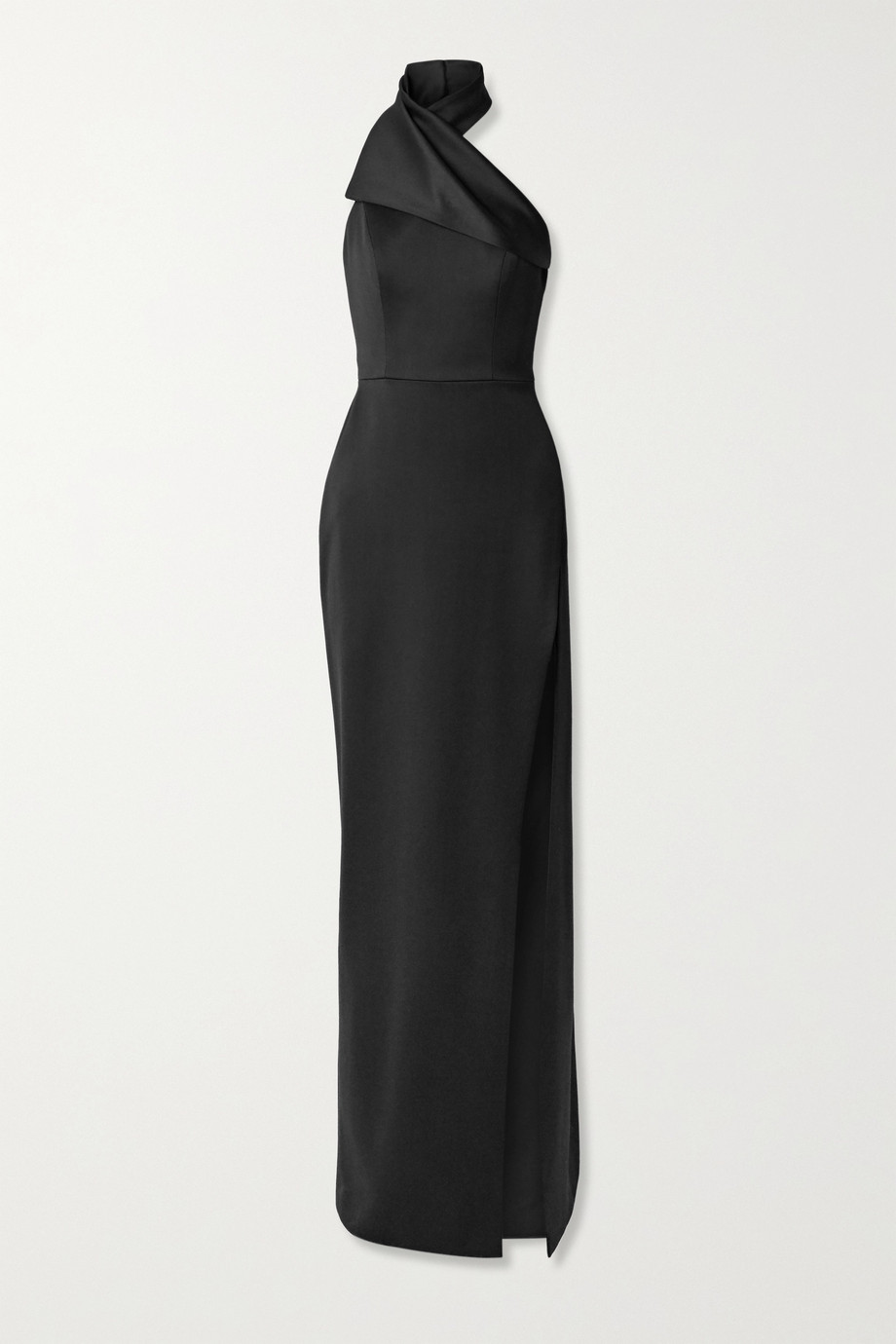 BRANDON MAXWELL Draped wool-faille halterneck gown