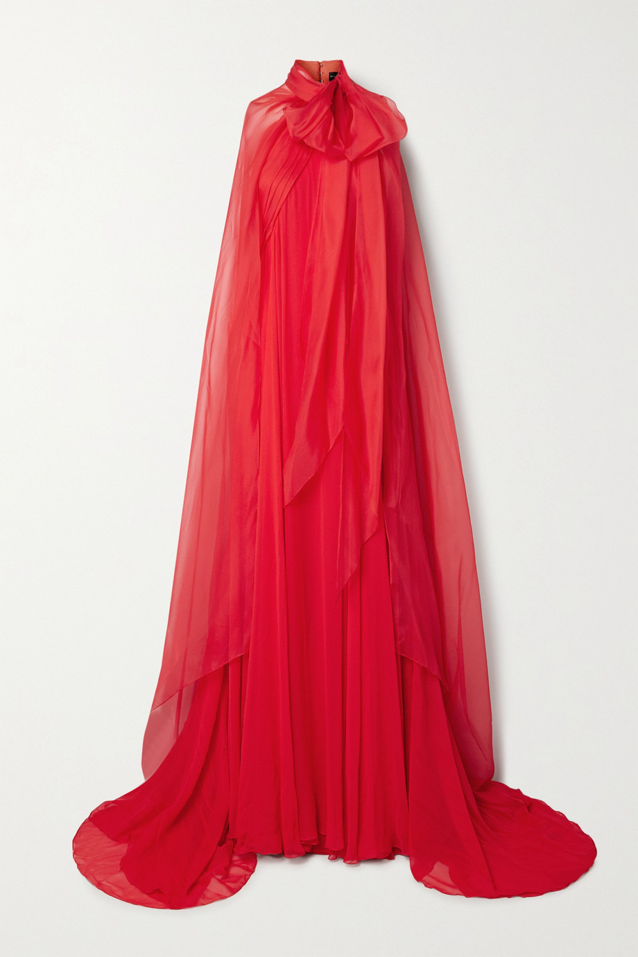 BRANDON MAXWELL Cape-effect silk-chiffon gown