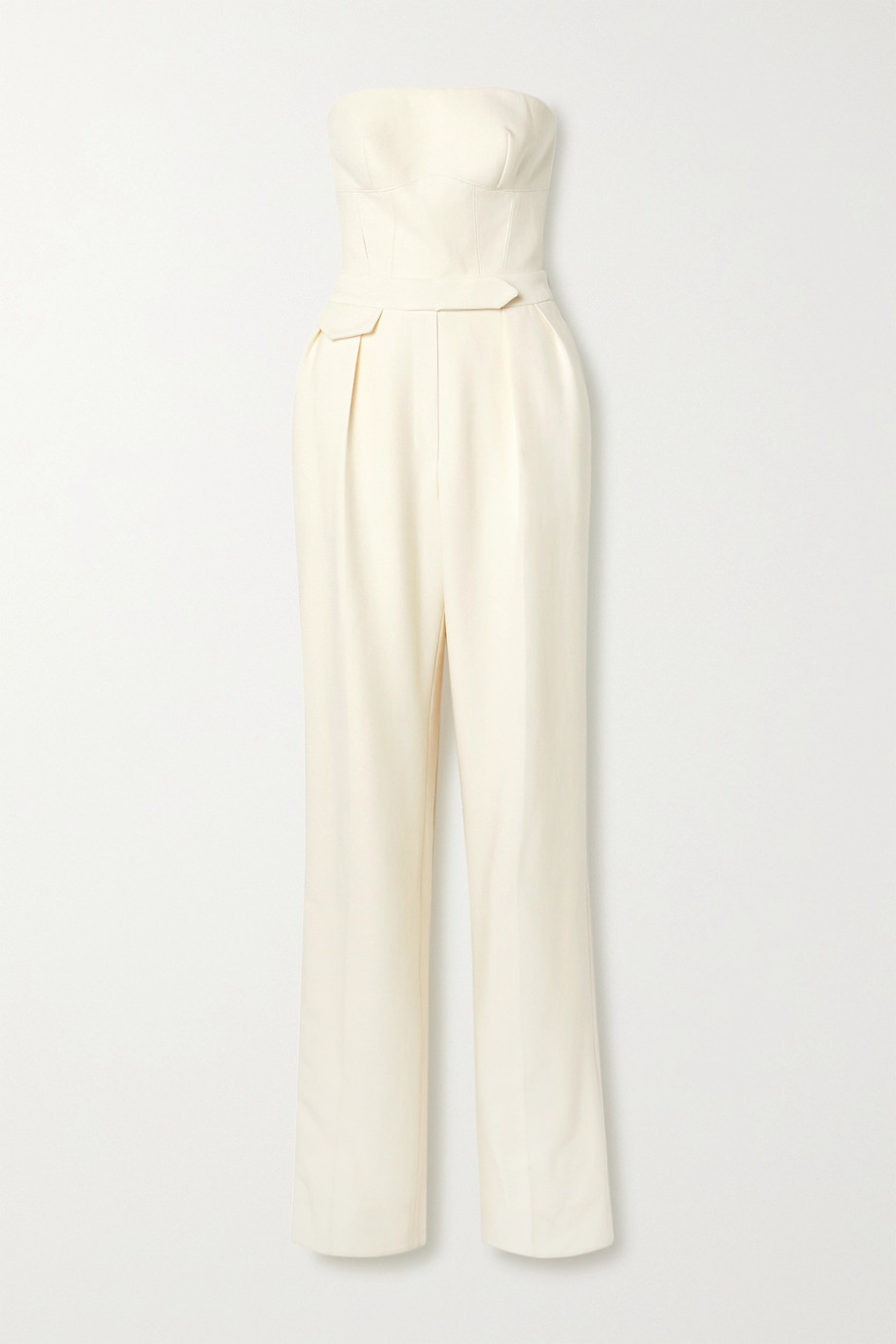 BRANDON MAXWELL Strapless wool and silk-blend twill jumpsuit