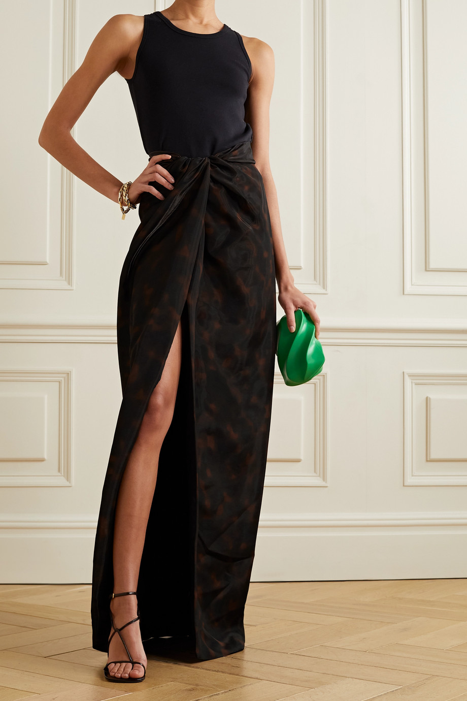 BRANDON MAXWELL Draped printed gazar maxi skirt