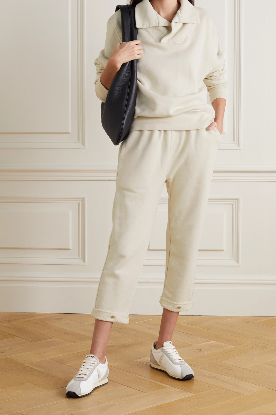 LES TIEN Cropped cotton-jersey track pants