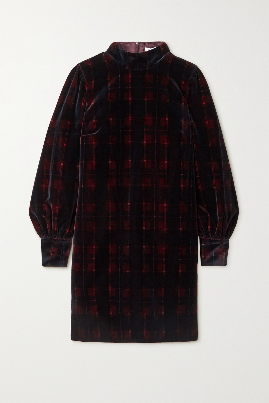 BELLA FREUD Valley Of The Dolls checked cotton-velvet mini dress