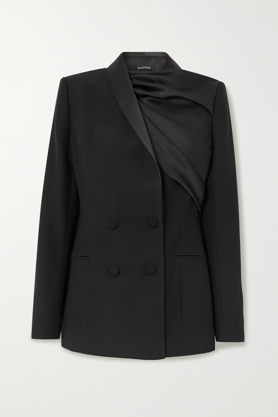 RASARIO Draped satin and crepe double-breasted blazer